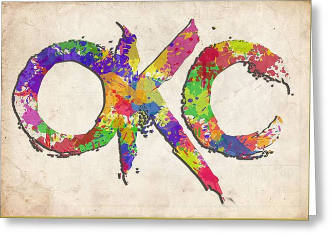 Okc Typography Watercolor Greeting Card