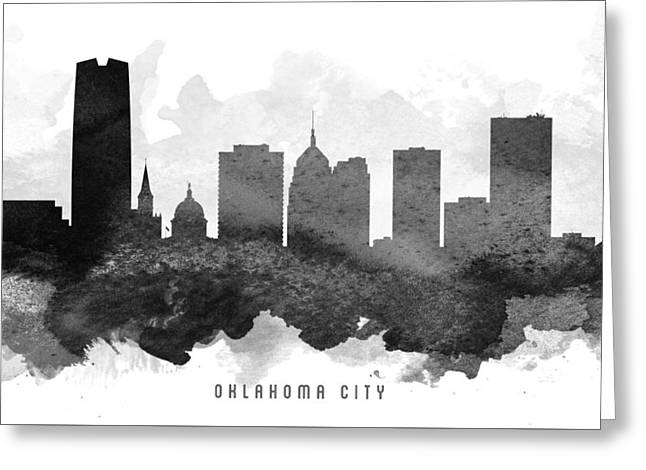 Oklahoma City Cityscape 11 Greeting Card by Aged Pixel