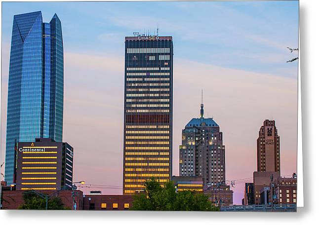 Greeting Card featuring the photograph Oklahoma City Okc Downtown City Skyline by Gregory Ballos