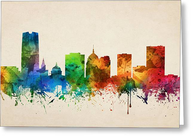 Oklahoma City Skyline 05 Greeting Card by Aged Pixel