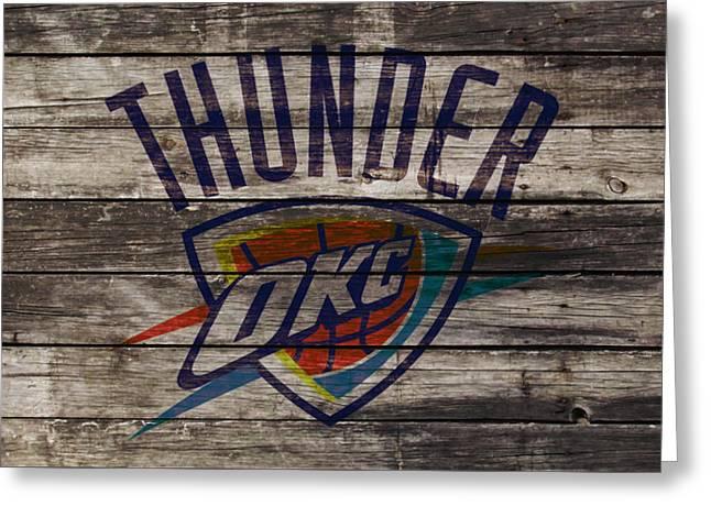 Oklahoma City Thunder Greeting Card by Brian Reaves