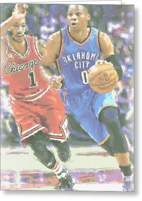 Oklahoma City Thunder Russell Westbrook Greeting Card by Joe Hamilton