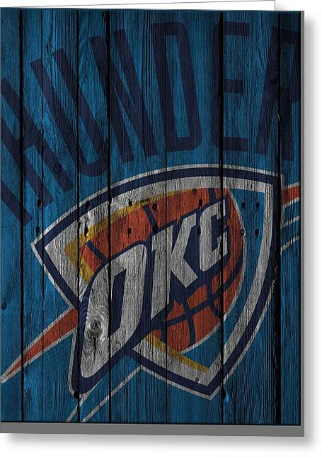 Oklahoma City Thunder Wood Fence Greeting Card