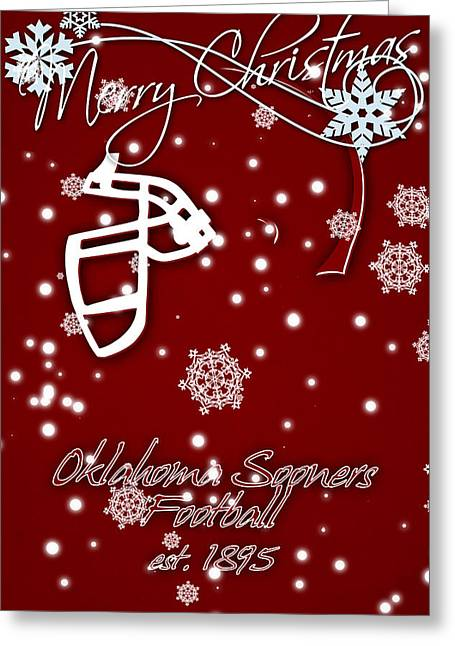 Oklahoma Sooners Christmas Card Greeting Card by Joe Hamilton
