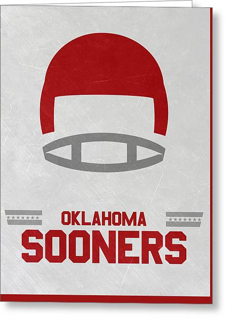 Oklahoma Sooners Vintage Football Art Greeting Card by Joe Hamilton