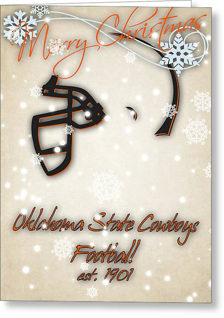 Oklahoma State Cowboys Christmas Card Greeting Card by Joe Hamilton