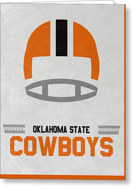 Oklahoma State Cowboys Vintage Football Art Greeting Card by Joe Hamilton