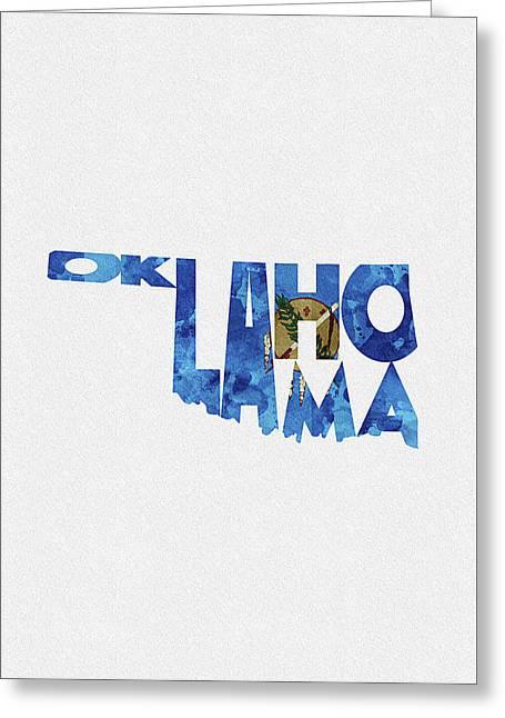 Oklahoma Typographic Map Flag Greeting Card