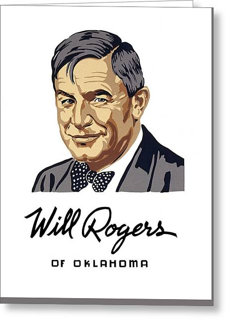 Oklahoma's Favorite Son - Will Rogers Greeting Card by Daniel Hagerman