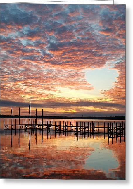 Okoboji Sunrise Greeting Card by Laura Snyder