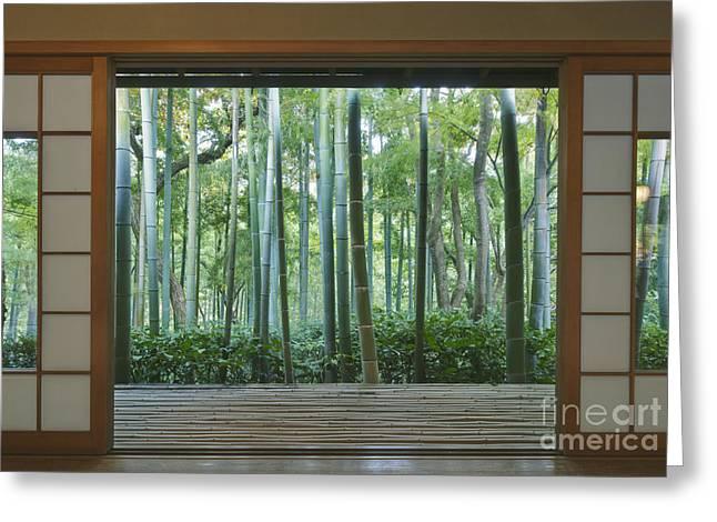 Okochi Sanso Villa Bamboo Garden Greeting Card by Rob Tilley