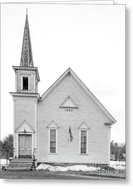 Greeting Card featuring the photograph Old 1885 White Church In Newport New Hampshire by Edward Fielding