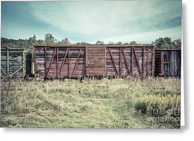 Old Abandoned Box Cars Central Vermont Greeting Card