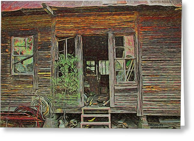 Old Abandoned House - Ghost Dogs Trotting Greeting Card by Rebecca Korpita