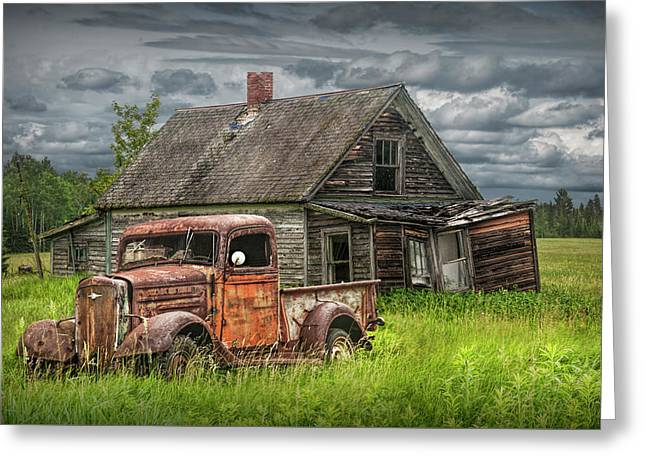 Old Abandoned Pickup By Run Down Farm House Greeting Card