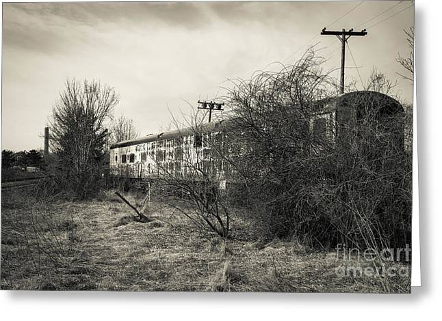 Old Abandoned Railroad Passenger Car Cape Cod Greeting Card