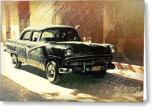 Old American Car Parked On The Street In Old Havana, Cuba Greeting Card