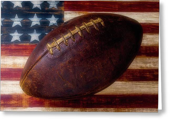 Old American Football Greeting Card by Garry Gay