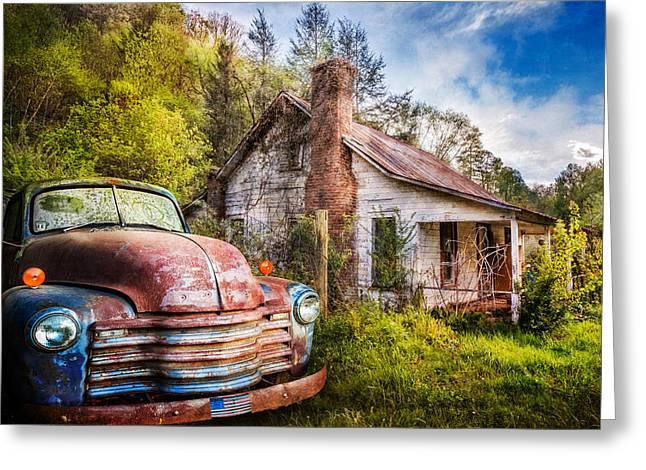 Old American Home Greeting Card by Debra and Dave Vanderlaan