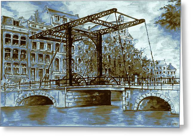 Old Amsterdam Bridge - Blue Water Color Greeting Card by Art America Gallery Peter Potter