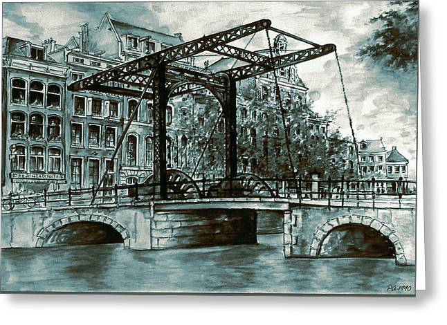 Old Amsterdam Bridge In Dutch Blue Water Colors Greeting Card