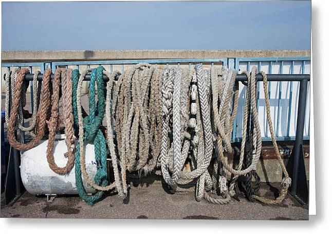 Old Anchor Ropes And Mooring Lines Greeting Card by Artur Bogacki