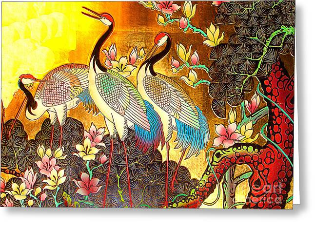 Old Ancient Chinese Screen Painting - Cranes Greeting Card by Merton Allen