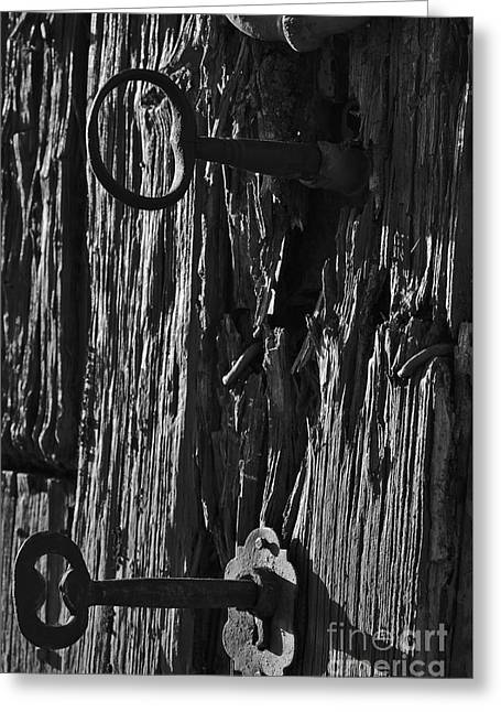 Old And Abandoned Wooden Door With Skeleton Keys Greeting Card