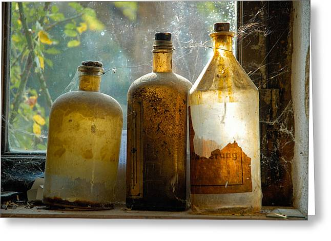 Old And Dusty Glass Bottles Greeting Card