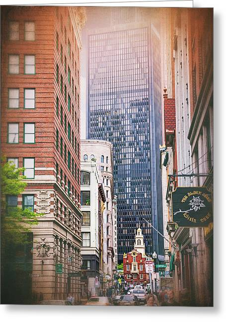 Old And New In Boston  Greeting Card