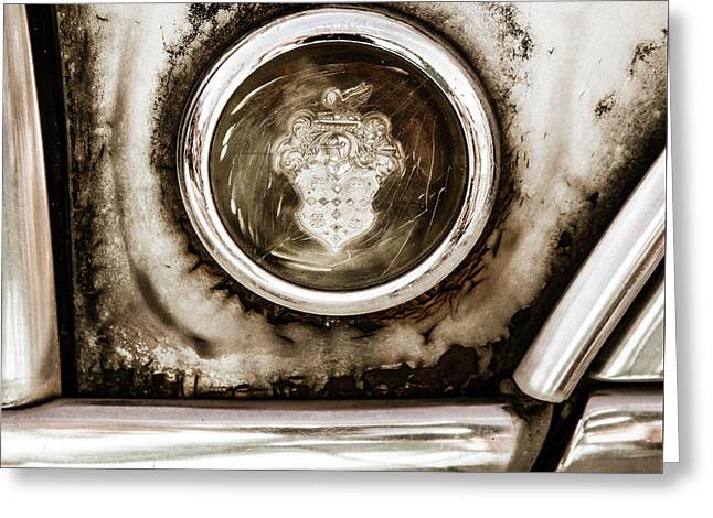 Greeting Card featuring the photograph Old And Worn Packard Emblem by Marilyn Hunt