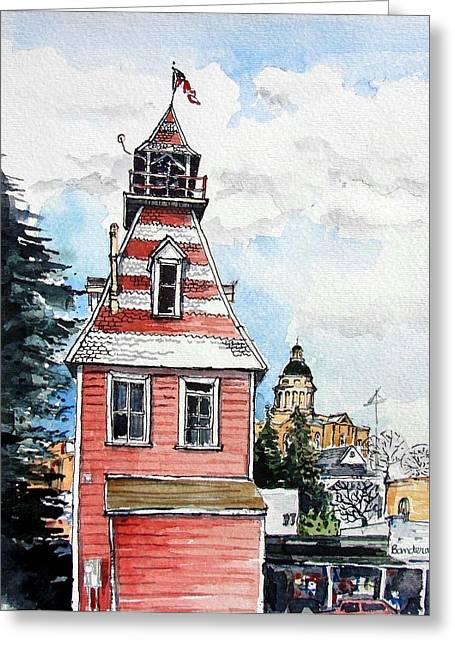 Greeting Card featuring the painting Old Auburn Firehouse by Terry Banderas