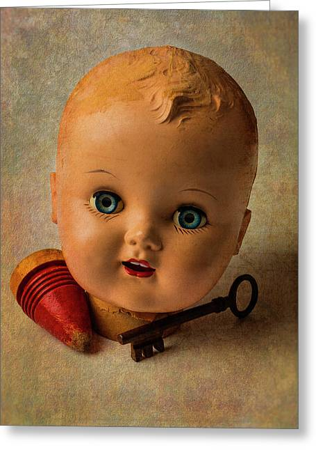Old Baby Doll Head Greeting Card by Garry Gay