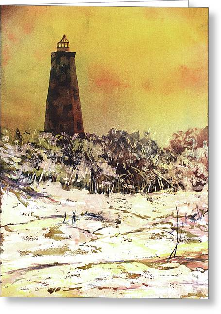 Greeting Card featuring the painting Old Baldy Lighthouse- North Carolina by Ryan Fox