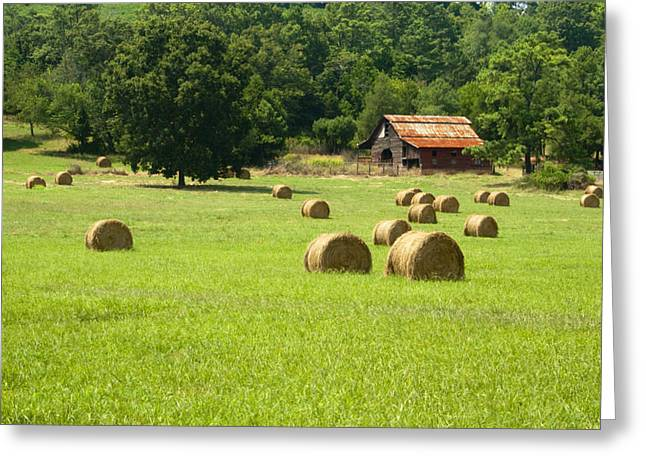 Red Roofed Barn Greeting Cards - Old Barn and Hay Bales Greeting Card by Kathy Clark