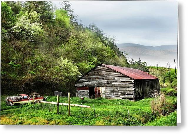 Old Barn And Truck Smoky Mountains Tennessee Greeting Card by Carol Mellema