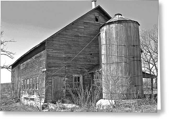 Old Barn And Wood Stave Silo Greeting Card by Randy Rosenberger
