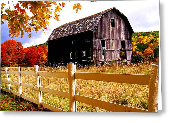 Old Barn In Autumn Greeting Card