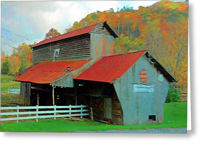 Old Barn In Autumn Wears Valley Greeting Card by Rebecca Korpita