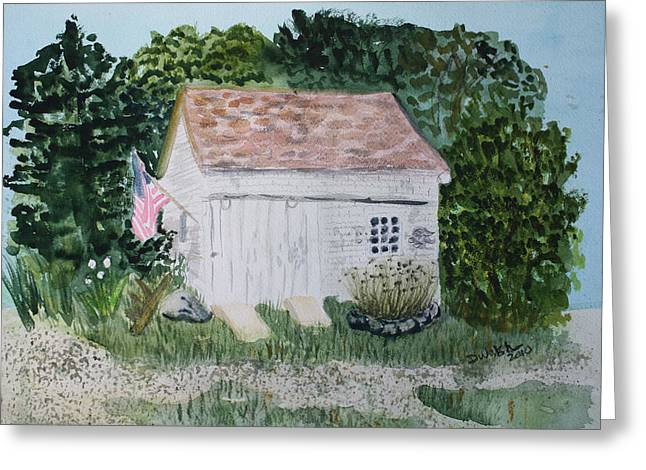 Greeting Card featuring the painting Old Barn In Eastham Ma by Donna Walsh