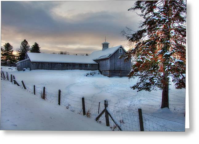 Old Barn In Snow At Sunrise Greeting Card