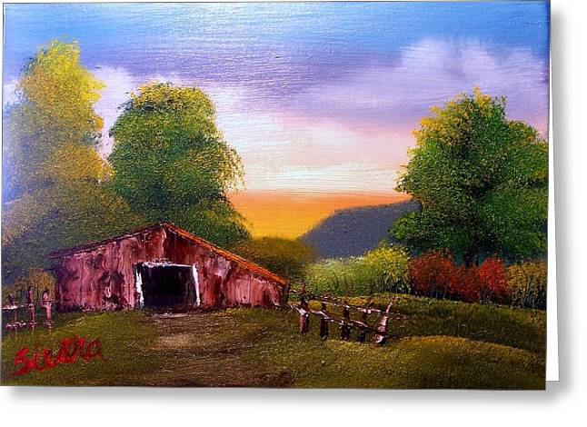 Old Barn In The Meadow Greeting Card by Dina Sierra