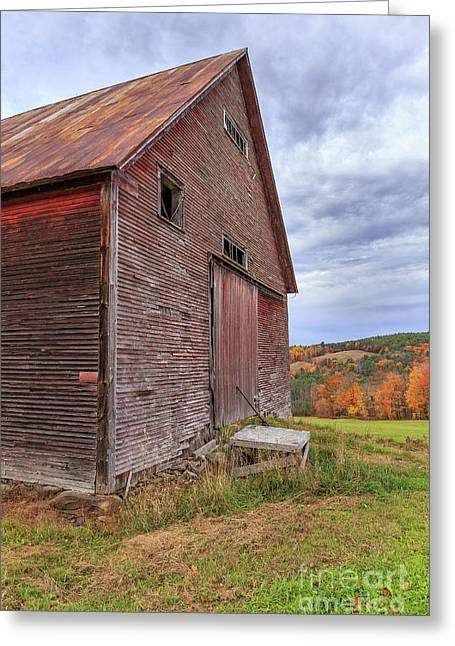 Old Barn Jericho Hill Vermont In Autumn Greeting Card by Edward Fielding