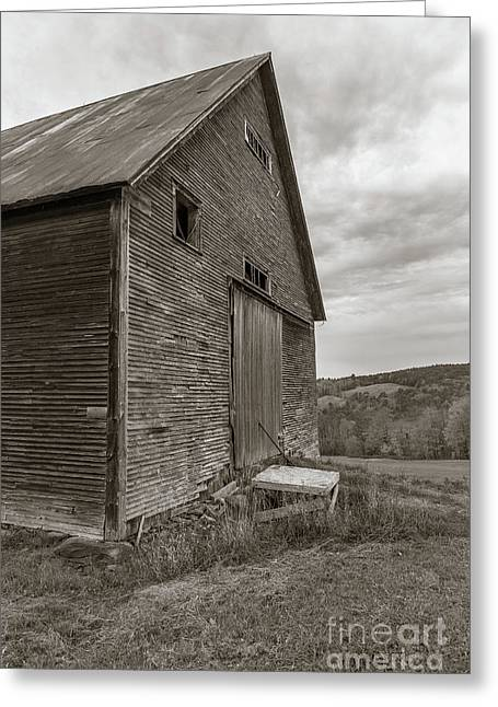 Old Barn Jericho Hill Vermont In Autumn Sepia Greeting Card by Edward Fielding