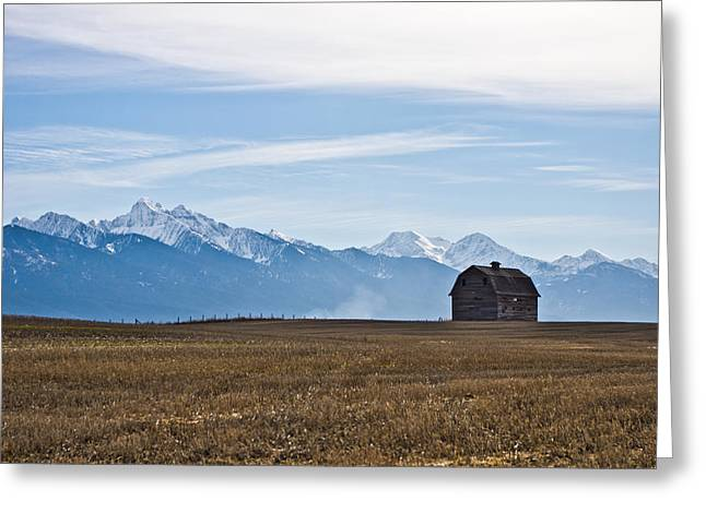 Old Barn, Mission Mountains Greeting Card