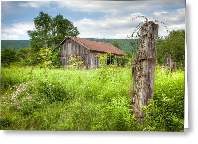 Old Barn Near Stryker Rd. Rustic Landscape Greeting Card by Gary Heller