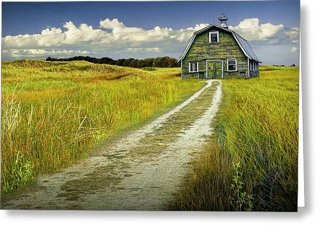 Old Barn On A Farm Under Cloudy Blue Skies Greeting Card