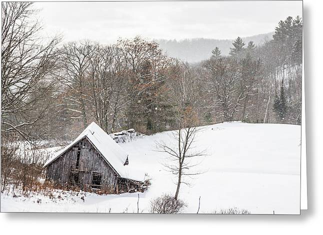 Old Barn On A Winter Day Wide View Greeting Card