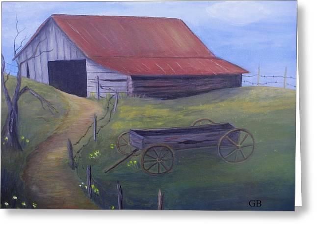 Old Barn On Hill Greeting Card by Glenda Barrett