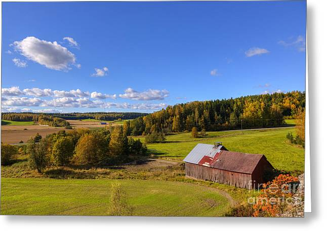 Old Barn Greeting Card by Veikko Suikkanen